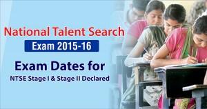 NTSE 2015-16 Exam Dates