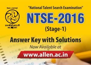 ntse 2016 stage 1 answer key