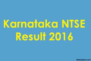 Karnataka NTSE 2016 Result
