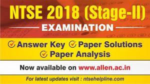 NTSE 2018 Answer Key & Paper Solution