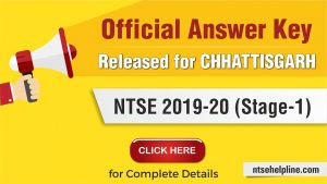 NTSE 2020 Chhattisgarh Answer Key