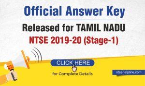 NTSE 2020 Tamil Nadu Answer key