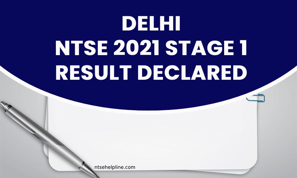 delhi ntse 2021 stage 1 result